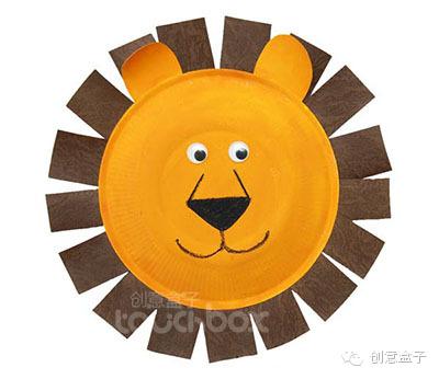 纸盘狮子简笔画